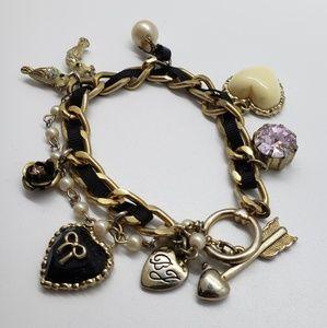 Betsey Johnson Black Ribbon Charm Bracelet